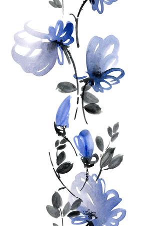 cíclico: La acuarela y de la tinta de flores azules y hojas. Patrón sin fisuras. Foto de archivo