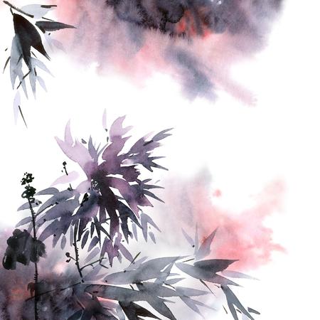 Waterverf en inktillustratie van bloem en bladeren met rook in stijl sumi-e, u-zonde. Oosterse traditionele schilderkunst. Decoratieve achtergrond.