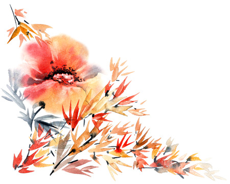 Watercolor and ink illustration of flower in style sumi-e, u-sin. Hand painted artistic background for greeting card or invitation.