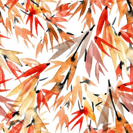 Watercolor and ink bamboo leaves pattern in style sumi-e, u-sin. Oriental traditional painting. Seamless pattern. Stock Photo