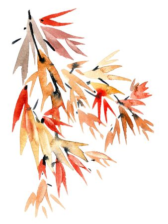 Watercolor and ink painted branche of tree. Sumi-e oriental traditional painting. Stock Photo