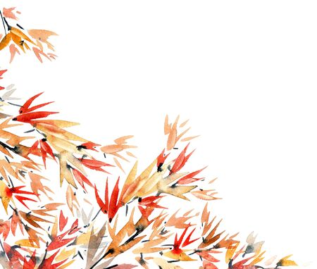 Watercolor and ink bamboo leaves pattern in style sumi-e, u-sin. Oriental traditional painting.