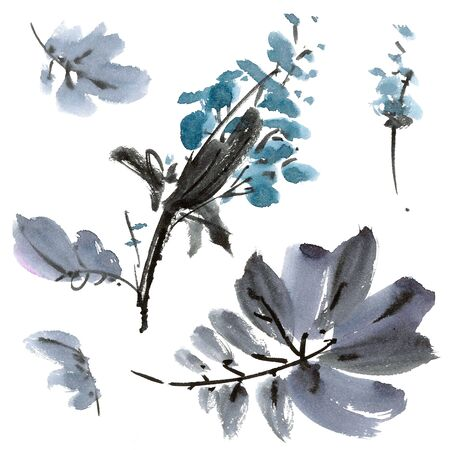 gohua: Watercolor and ink illustration of flower in style sumi-e, u-sin. Oriental traditional painting. Decorative background.