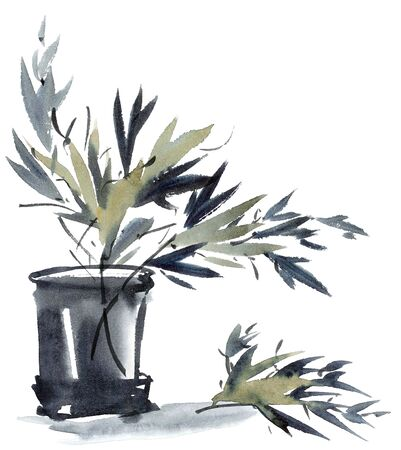 Watercolor And Ink Illustration Of Bamboo Leaves In Vase Sumi E