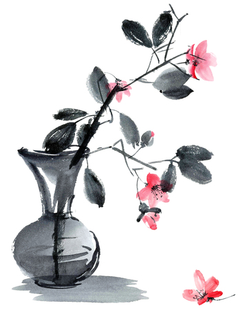 gohua: Watercolor and ink illustration of sakura flowers and leaves in vase. Sumi-e, u-sin style. Oriental traditional painting. Stock Photo