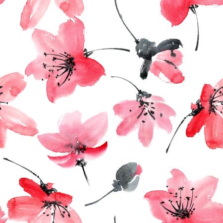 Waterverf en inkt illustratie van bloesem boom. Sumi-e, u-sin schilderij.