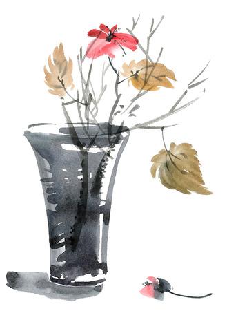 꽃병에 꽃과 잎의 수채화 및 잉크 그림입니다. 수미-E, U-죄 스타일. 동양 전통 회화.