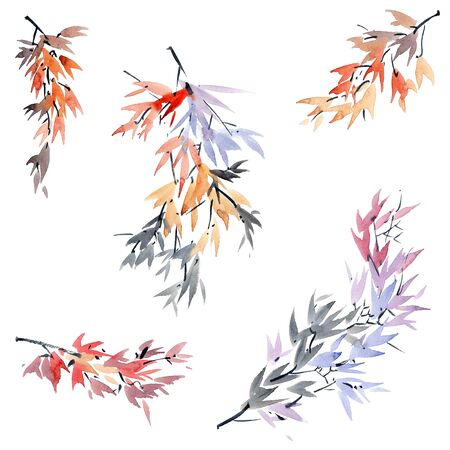Watercolor and ink tree leaves painted in style sumi-e, u-sin. Oriental traditional painting.