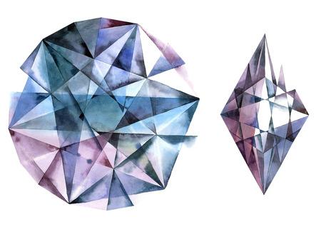 Watercolor illustration of diamond crystal. Blue ametist. Stock Photo