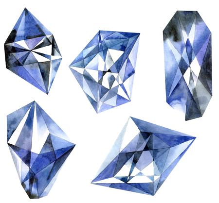Watercolor illustration of diamond crystals. Blue diamonds.