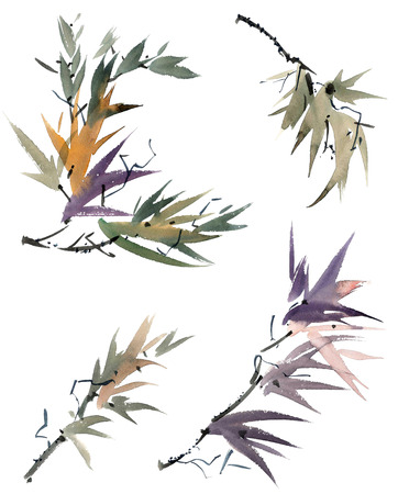 gohua: Watercolor and ink illustration of tree foliage in style sumi-e, u-sin. Oriental traditional painting. Stock Photo