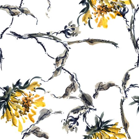 gohua: Watercolor and ink illustration of sunflowers in style sumi-e, u-sin. Oriental traditional painting. Seamless pattern.