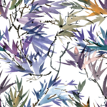 gohua: Watercolor and ink illustration of tree foliage in style sumi-e, u-sin. Oriental traditional painting. Seamless pattern.