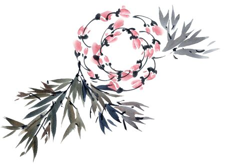 Watercolor and ink illustration of tree foliage and flowers in style sumi-e, u-sin. Oriental traditional painting. Hand drawn background elements for decorative card or invitation.