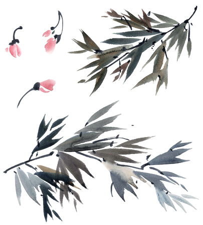 gohua: Watercolor and ink illustration of tree foliage and flowers in style sumi-e, u-sin. Oriental traditional painting.