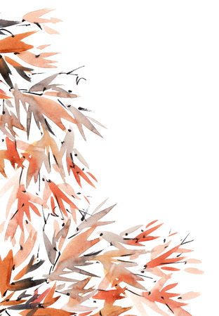 Watercolor and ink illustration of tree foliage in style sumi-e, u-sin. Oriental traditional painting. Background for decorative card. Stock Photo