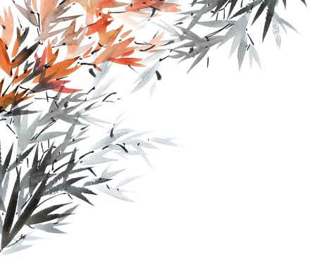 gohua: Watercolor and ink illustration of tree foliage in style sumi-e, u-sin. Oriental traditional painting. Background for decorative card. Stock Photo