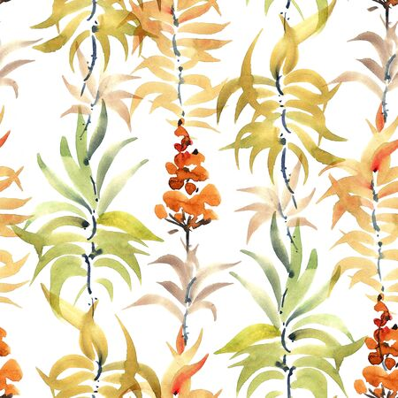 Watercolor and ink illustration of orange flowers and leaves. Seamless pattern. Stock Photo