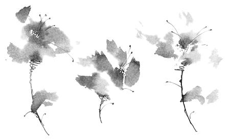 Ink painted flowers