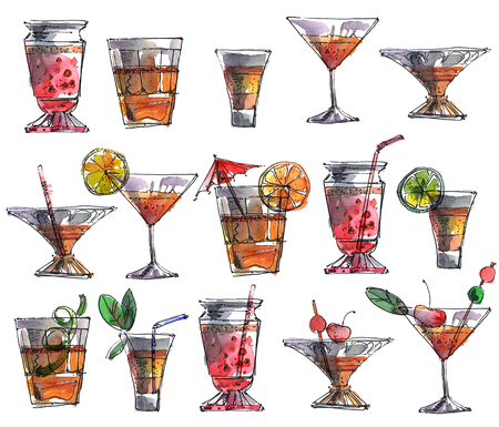 Watercolor and ink pen illustrations of cocktail drinks and fruits in glases. Hand drawn set.