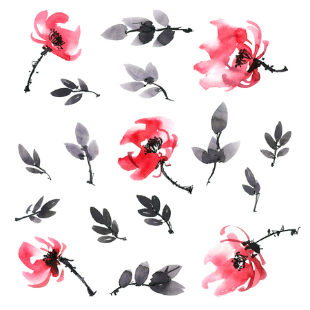 Watercolor and ink illustration of red flowers and leaves. Sumi-e, u-sin painting. Stock Photo