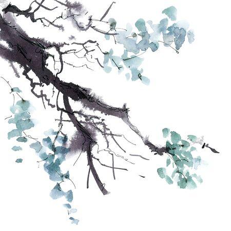 Waterverf en inkt illustratie van de boom bladeren in de stijl van sumi-e, u-zonde. Oosterse traditionele schilderkunst.