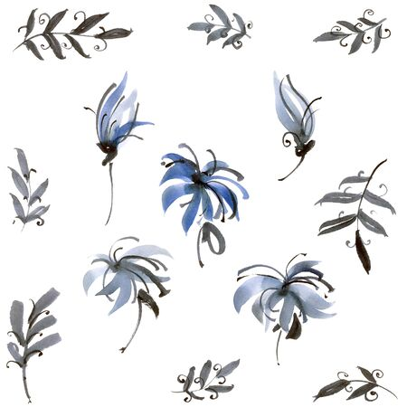 japanese garden: Watercolor and ink illustration of blue flowers. Sumi-e, u-sin painting. Stock Photo