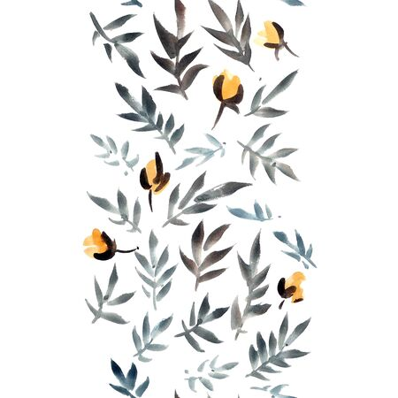 Watercolor and ink illustration of yellow flowers with leaves. Sumi-e, u-sin painting. Seamless pattern. Stock Photo