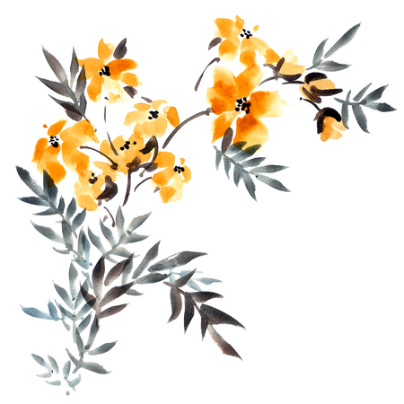 japanese garden: Watercolor and ink illustration of yellow flowers with leaves bouquet. Sumi-e, u-sin painting.