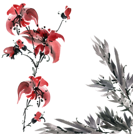 Watercolor and ink illustration of lily flowers. Sumi-e, u-sin painting.