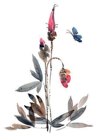 Waterverf en inkt illustratie van bloemknoppen. Sumi-e, u-zonde schilderij.
