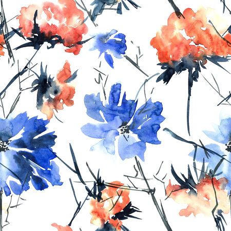 Watercolor and ink illustration of red and blue flowers. Sumi-e, u-sin painting. Seamless pattern.