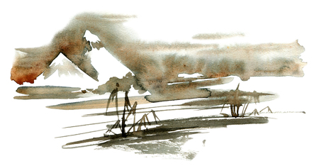 Watercolor and ink illustration of japan nature. Sumi-e, u-sin painting.