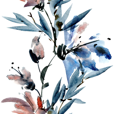 Watercolor and ink illustration of flowers with leaves. Sumi-e, u-sin painting. Seamless pattern. Reklamní fotografie