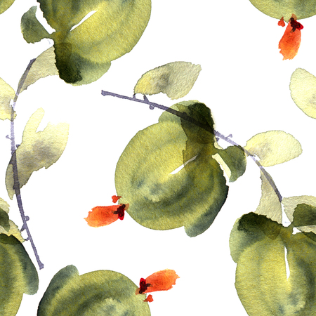 Watercolor and ink illustration of flowers and leaves. Sumi-e, u-sin painting. Seamless pattern. Stock Photo