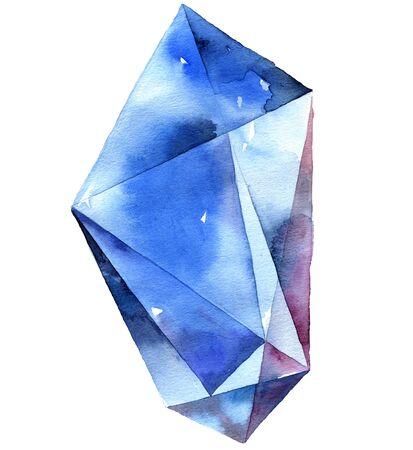 Watercolor illustration of blue diamond crystal. Big blue saphir.