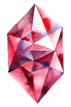Watercolor illustration of diamond crystal. Big red ruby. Stock Photo