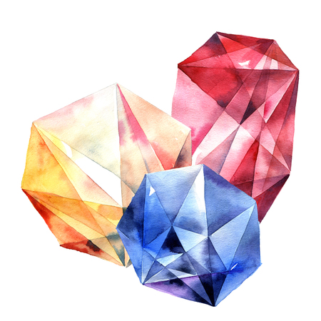 Watercolor illustration of diamond crystals. Big color gems.
