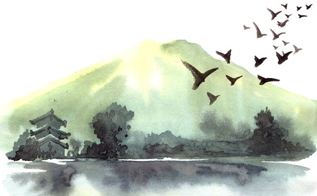 Chinese landscape with mountain, birds, river, trees, pagoda. Watercolor and ink illustration of nature, sumi-e or u-sin traditional painting. Reklamní fotografie