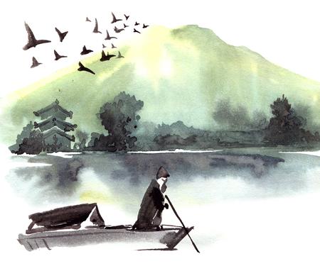 Fishman in de boot. Chinees landschap met berg, vogels, rivier, bomen, pagode. Waterverf en inkt illustratie van de natuur, sumi-e of u-sin traditionele schilderkunst.