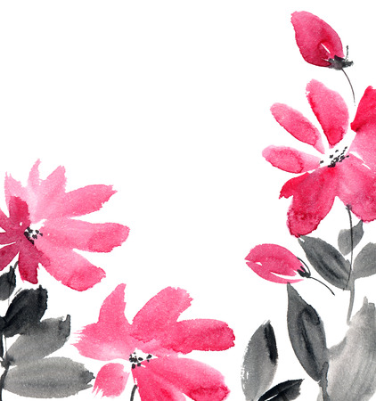 Watercolor and ink illustration of red flowers. Sumi-e, u-sin painting. Decorative background.