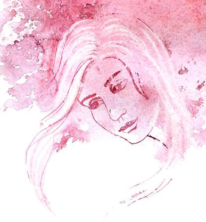 Artistic portrait of beautiful woman. Watercolor painting with purple watersplash. Stockfoto