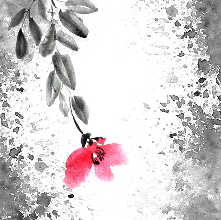 Watercolor and ink illustration of tree with leaves and red flowers. Grunge background with watersplashes. Sumi-e, u-sin painting. Minimalism artistic style. Stockfoto