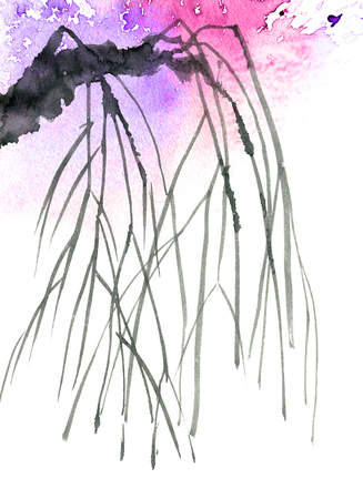 Watercolor and ink illustration of tree branch with watersplashes. Oriental traditional painting in style sumi-e, u-sin. Artistic illustration. Stockfoto