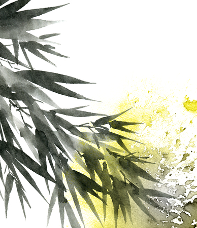 Watercolor and ink illustration of bamboo leaves with color watersplashes. Oriental traditional painting in style sumi-e, u-sin. Artistic illustration.