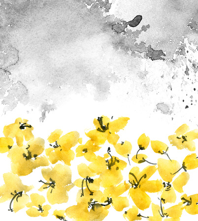 Watercolor and ink illustration of yellow flowers. Sumi-e, u-sin painting. Decorative background. Stockfoto