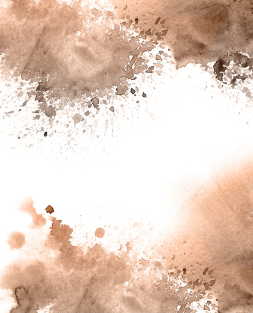 Abstract watercolor background texture in grunge style. Watersplashes in brown and beige color. Stockfoto