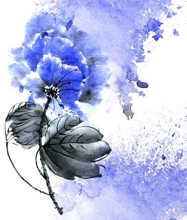 Watercolor blue flower illustration
