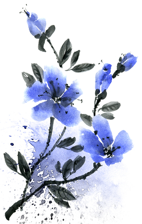 Watercolor and ink illustration of branch with blue flowers. Sumi-e, u-sin painting. Set on white background. Stockfoto