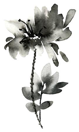 Tinte gemalte Blume. Handgemalte Illustration von Blumen mit Blättern. Orientalische traditionelle Malerei im Stil u-sin, sumi-e.